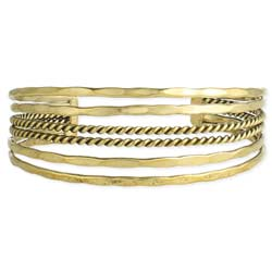 Gold Hammered & Twisted Lines Cuff Bracelet