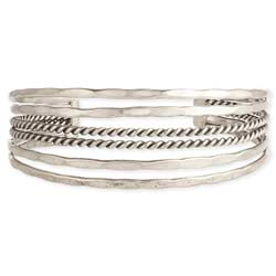 Silver Hammered & Twisted Lines Cuff Bracelet