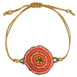 Boho Jewels Beaded Circle & Tan Cord Pull Bracelet