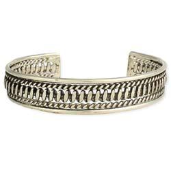 Silver Textured Thin Cuff Bracelet