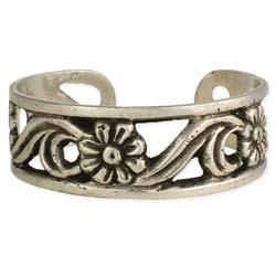 Silver Flower Cuff Bracelet