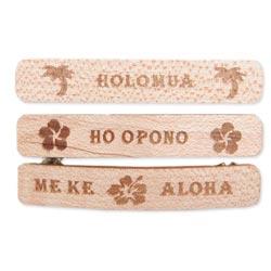 Set of 3 Hawaiian Word Wood Barrette