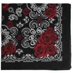 Red Rose Print Black Cotton Bandana