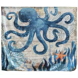 Vintage Print Nylon Octopus Tapestry