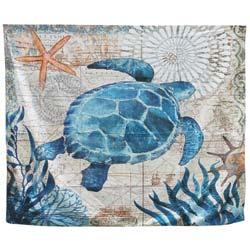 Vintage Print Nylon Sea Turtle Tapestry