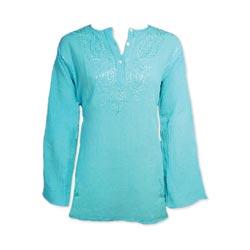 Turquoise Crepe Cotton Kurta Blouse