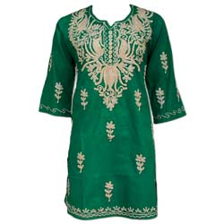 Medium Size Natural Embroidered Green Cotton Tunic