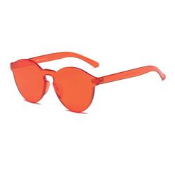Cherry Red Monochromatic Rimless Sunglasses