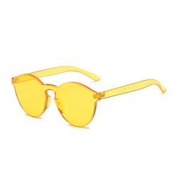 Lemon Yellow Monochromatic Rimless Sunglasses