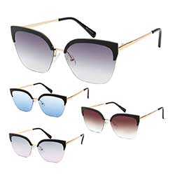 Gold Wire Frame Browline Cat's Eye Sunglasses
