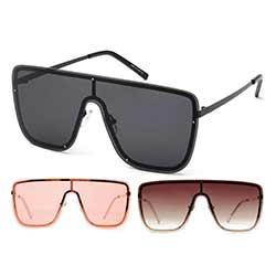 Extra Glam Wide Shield Frameless Sunglasses