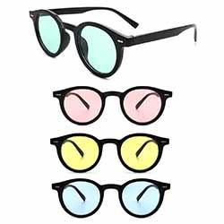 Colored Lens Retro Round Sunglasses