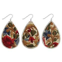 Red Flower Embroidered Elegance Silver Teardrop Earring