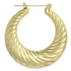 Classic Textured Gold Hoop Earring