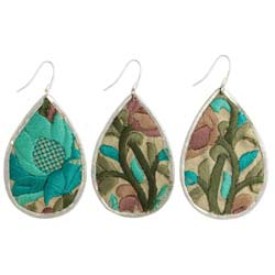 Turquoise Floral Embroidered Elegance Silver Teardrop Earring