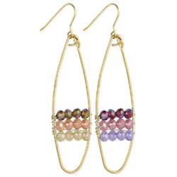 Gold Wire & Tonal Bead Oval Earrings