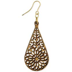 Nature's Elegance Wood Teardrop Earrings