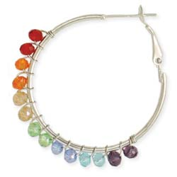 Over the Rainbow Silver & Bead Hoop Earring