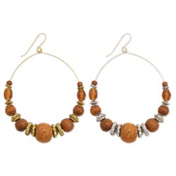 Round Metal Wood & Glass Bead Earring