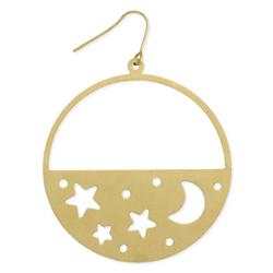 Little Night Sky Cutout Gold Moon & Stars Earring