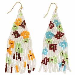 Floral Beadwork Fringe Earrings