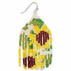 Sunflower Beadwork Fringe Earrings
