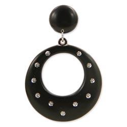 Black Lucite Sparkle Dangle Post Earring