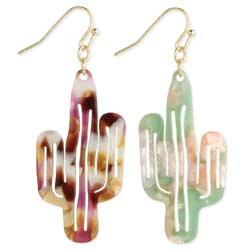 Southwest Vistas Marbled Resin Cactus Earrings