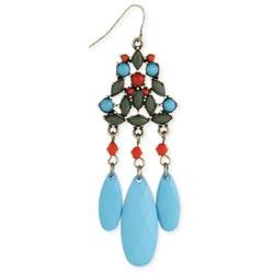 Grey, Turquoise, Orange Bead Dangle Earring