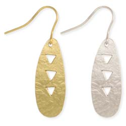 Tiny Triangle Cutout Hammered Earring