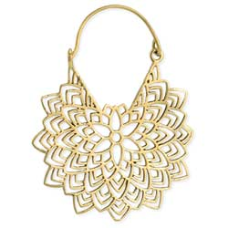 Floral Radiance Gold Cutout Hoop Earring