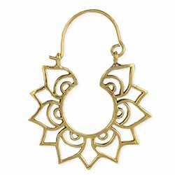 Modern Lotus Gold Hoop Earrings