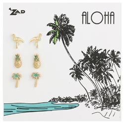 Set of 3 Enamel Tropical Post Earrings