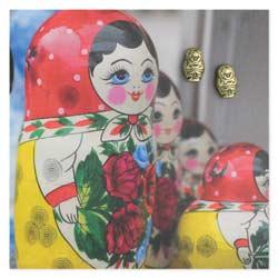 Gold Russian Nesting Doll Post Earrings