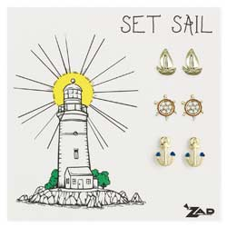 Set of 3 Nautical Sailor Post Earrings