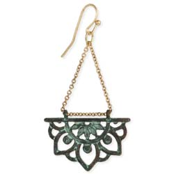 Lotus Entertain You Green & Gold Flower Earrings