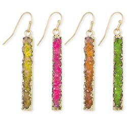 Bright Bottled Treasures Gold Druzy Bar Earring