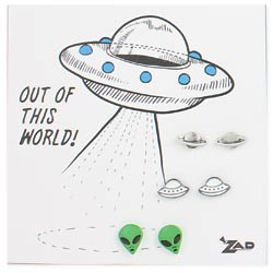 Set of 3 UFO Post Earrings