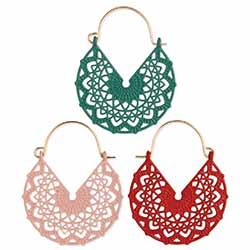 Colorful Mandala Enamel Hoop Earrings