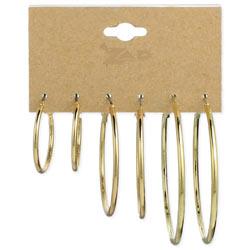 Set of 3 Gold Graduating Hoop Earrings