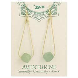 Nature's Wonder on Display Aventurine & Gold Chain Teardrop Earring
