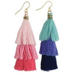 Top Tier Color Fringe Tiered Dangle Earrings
