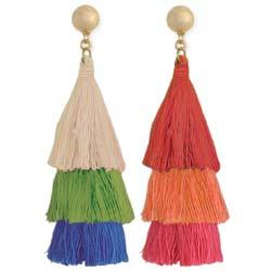 Triple Tier Colorful Tassel Earrings