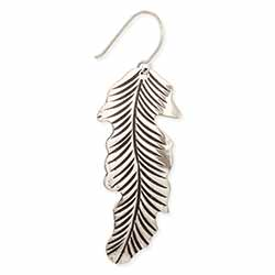 Floating Feather Silver Earring