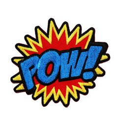 Colorful Pow Embroidered Iron On Patch