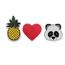 Set of 3 Pineapple, Heart, Panda Mini Stick on Patches