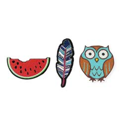 Set of 3 Watermelon, Feather, Owl Mini Stick on Patches