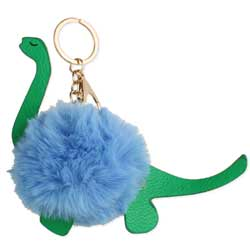 Blue Dinosaur Puff Ball Pom Pom Keychain