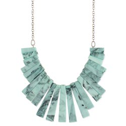 Marbled Resin Blue Bars Bib Necklace