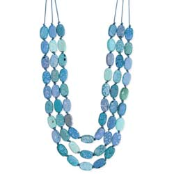 Ocean Blue Marbled Bead 3 Line Necklace
